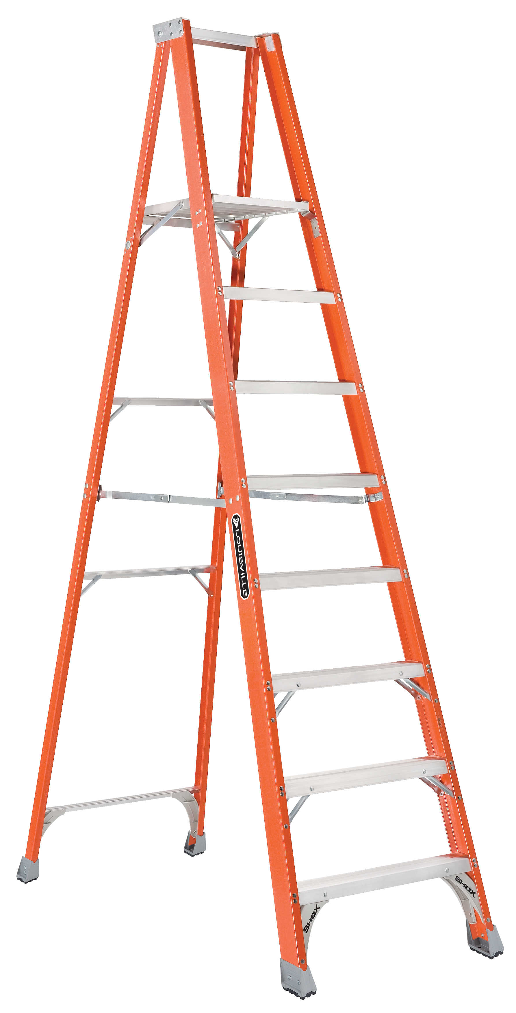 Louisville Ladder FP1508 8 ft. Step Fiberglass Platform Ladder, Type IA, 300 Lbs Rated