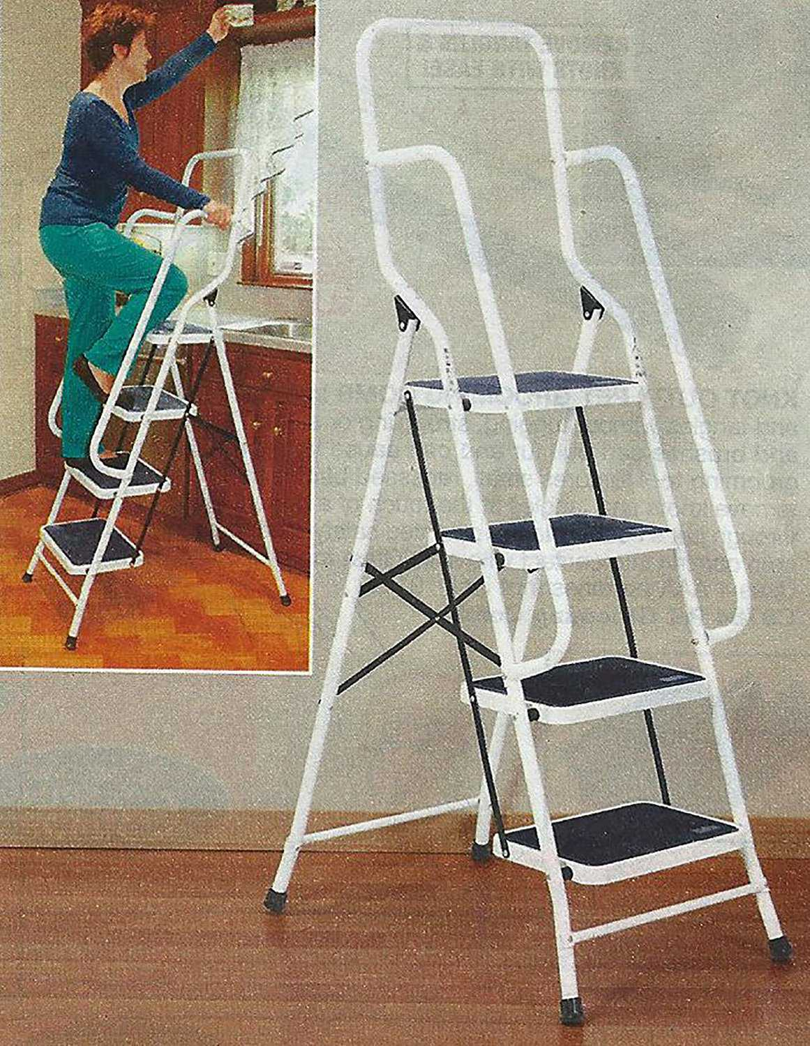 62.5' Four Step Steel Safety Ladder With Handrails