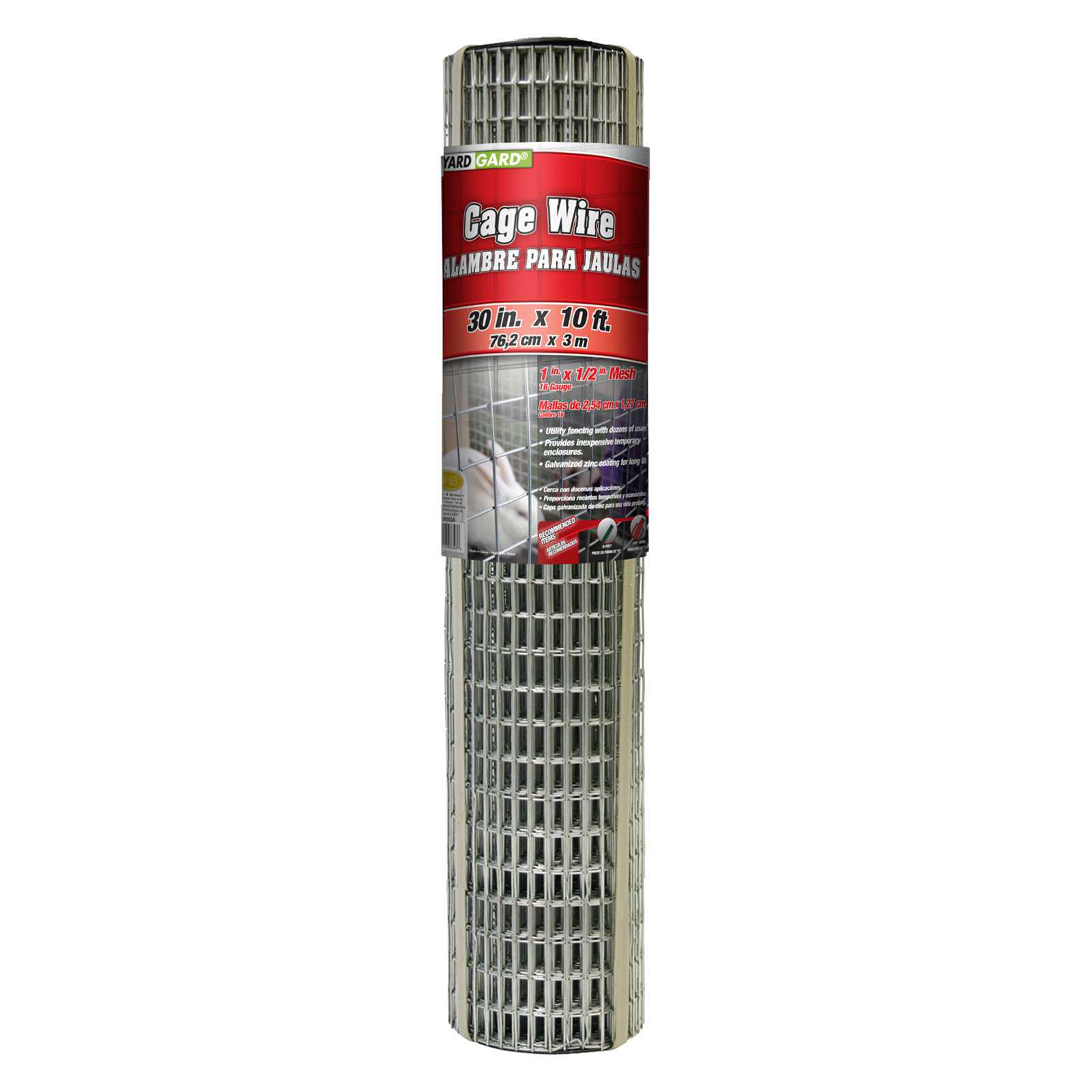YARDGARD 30 inch by 10 foot 16 Gauge 1 inch by 1/2 inch Mesh Cage Wire