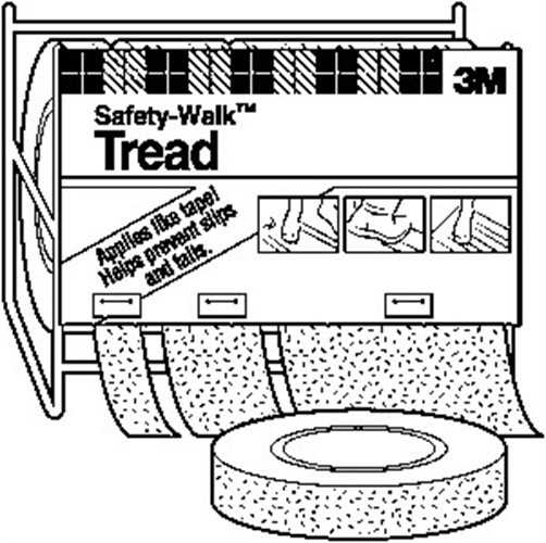 Safety-Walk 7740 Medium Duty Resilient Tread, 60 ft L X 2 in W, Rubber Backing, Gray