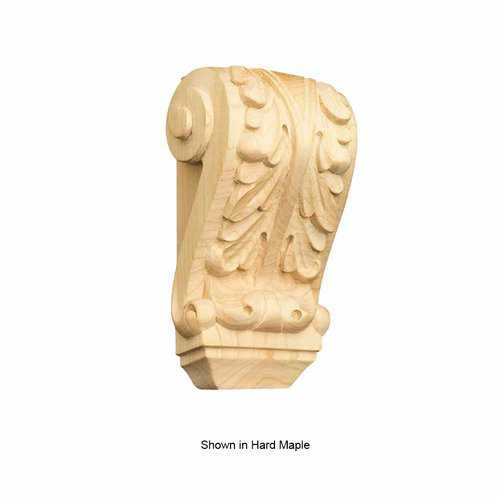Brown Wood Petite Acanthus Corbel Unfinished Paint Grade 01609004PT1