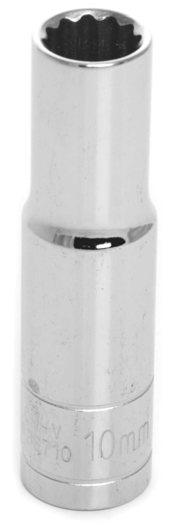Wilmar W38710 Chrome Socket, 3/8' Drive, 10mm, 12 Point, Deep