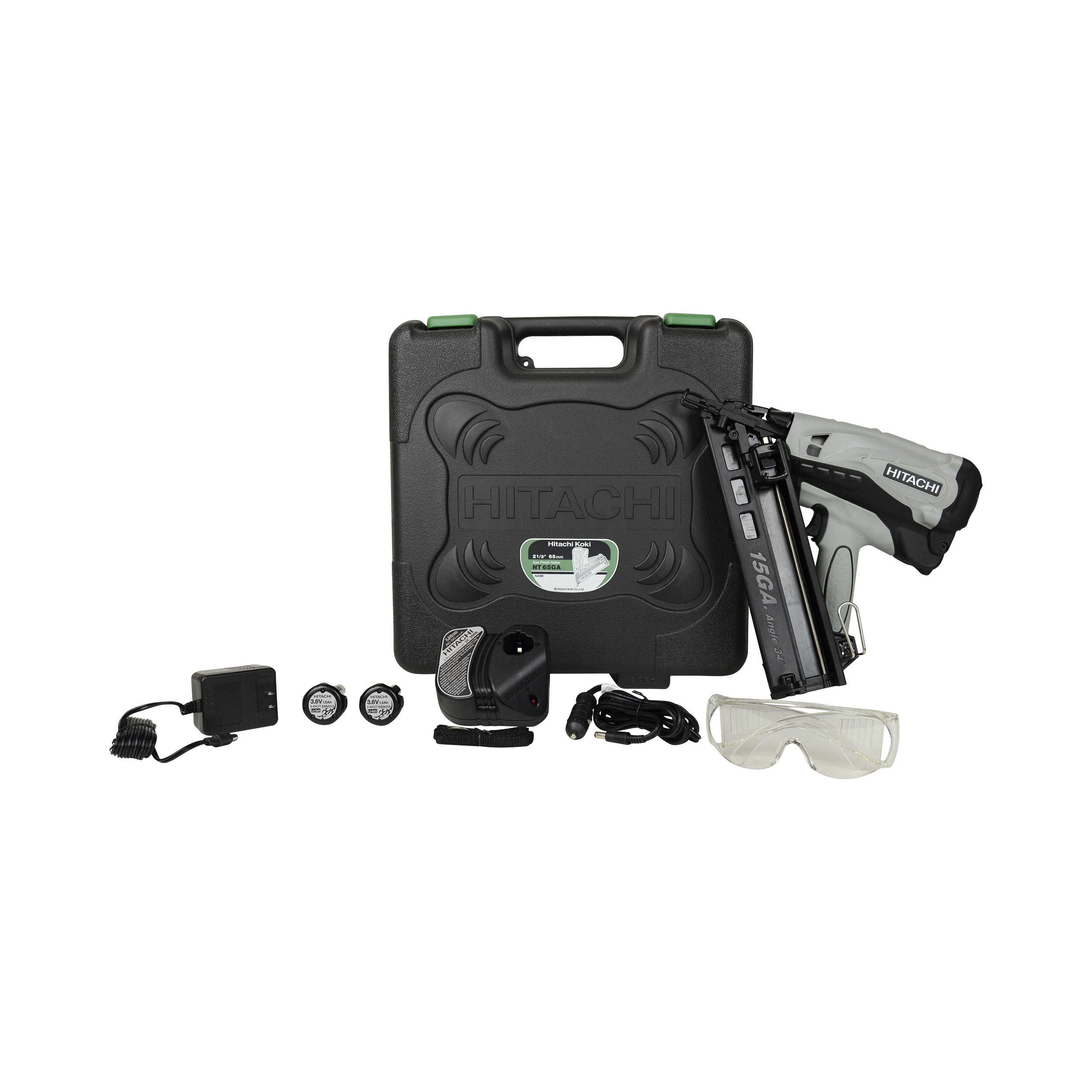 Hitachi NT65GAP9 3.6V 15 Gauge 2-1/2' Gas Powered Angle Finish Nailer Kit