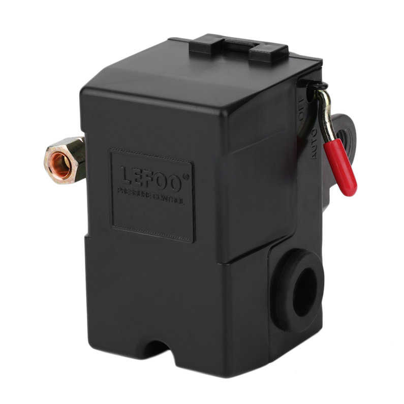 Hot Sale Upgraded Single Port Air Compressor Pressure Switch Control Valve 95-125 PSI lf10-1h4(Black)