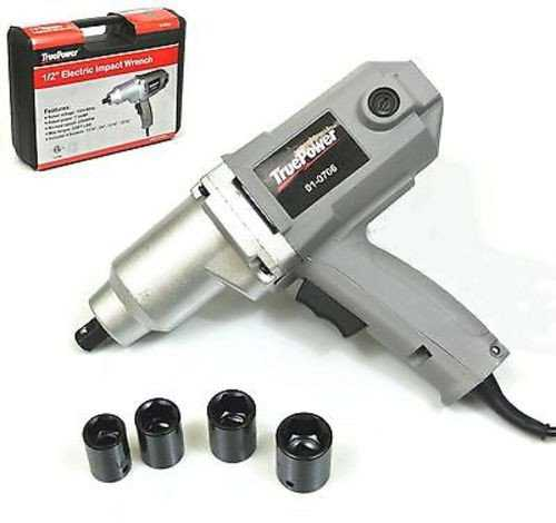 TruePower 1/2' Electric Corded Impact Wrench - 220 ft lbs, Sockets, Case