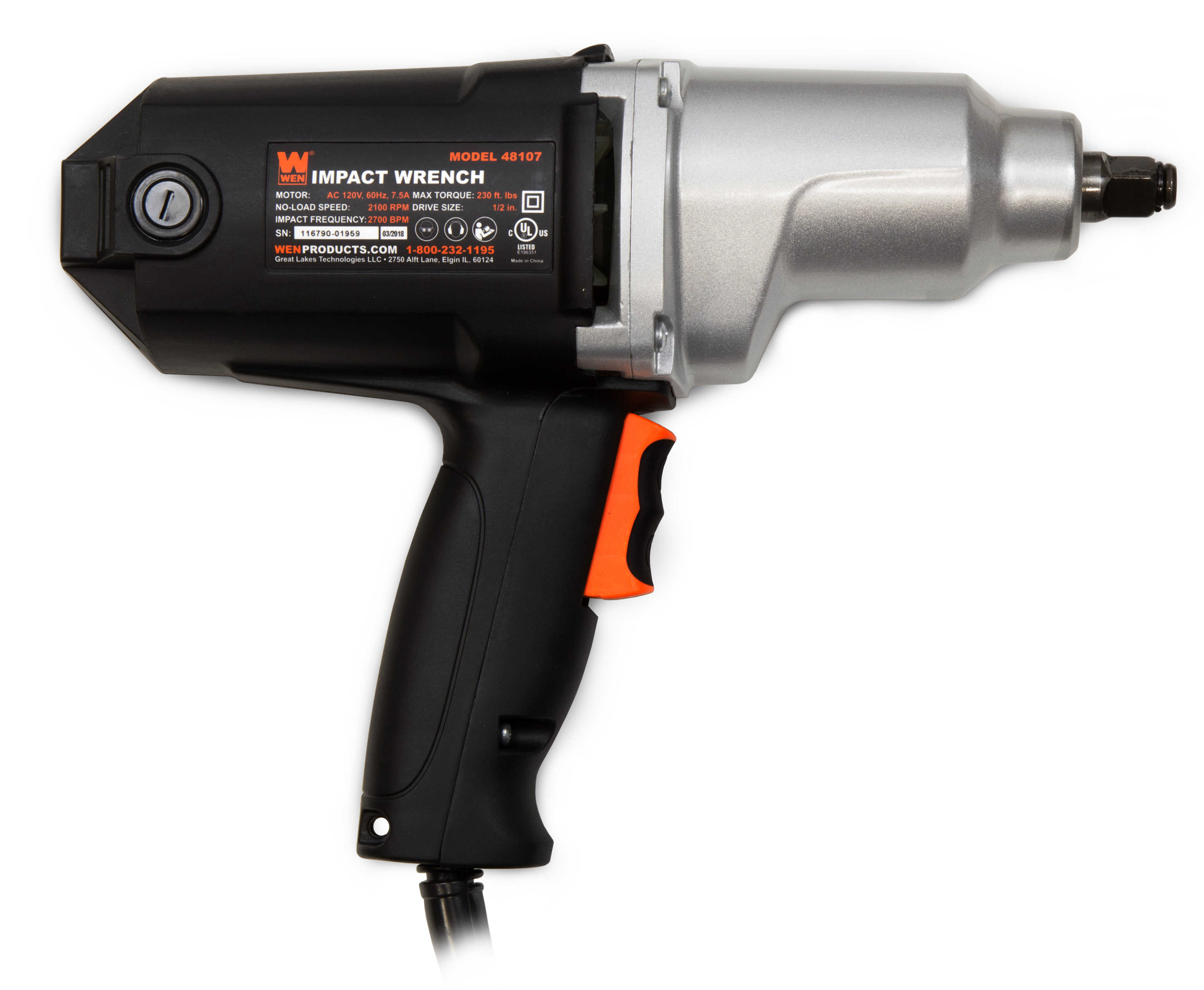 WEN 7.5-Amp 1/2-Inch Two-Direction Electric Impact Wrench