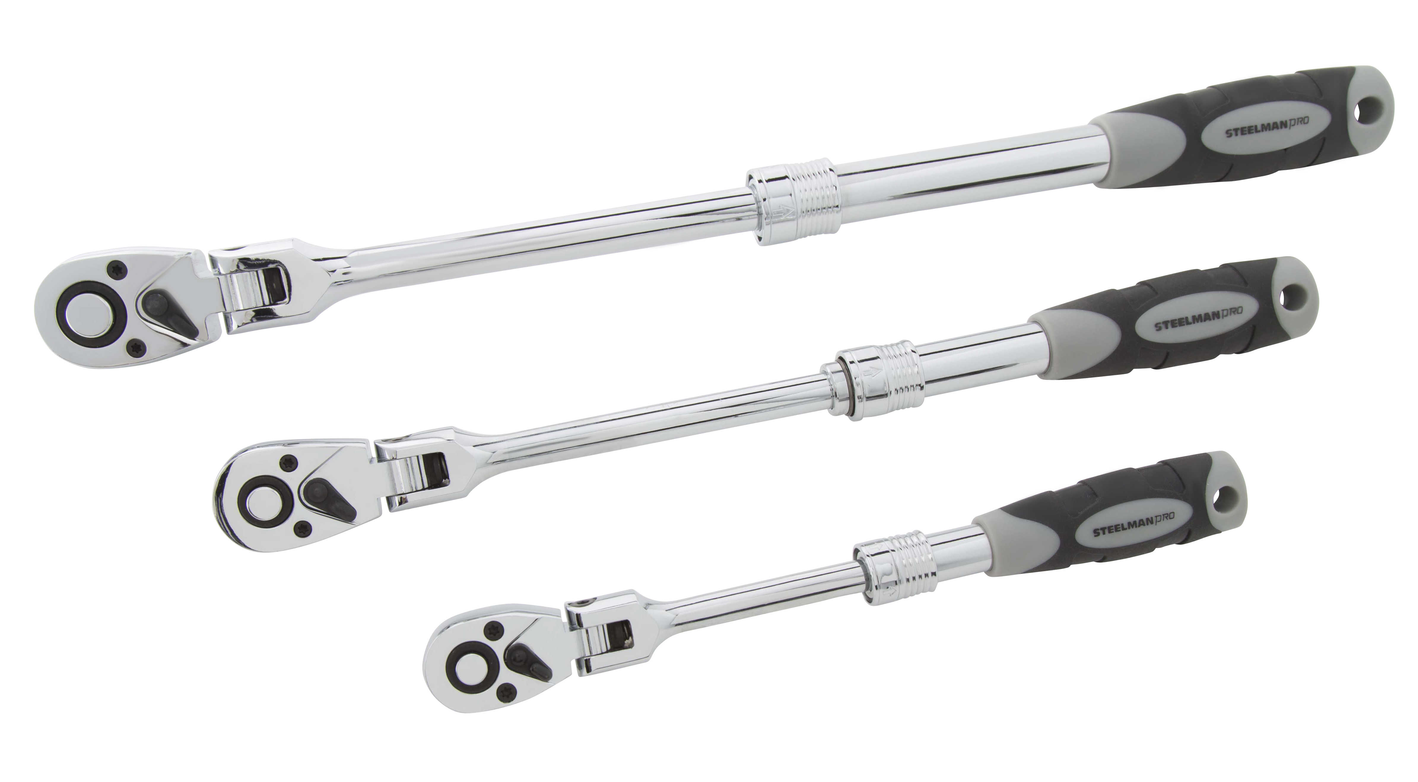STEELMAN PRO 96753 3-Piece Extendable Flex-Head Ratchet Set