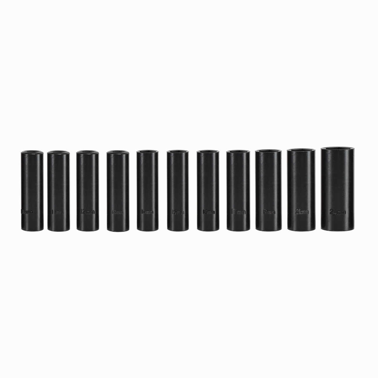 Hiltex 1/2' Deep Impact Sockets | 12pc Metric Set 1/2' Dr Air Power Carbon Steel Case