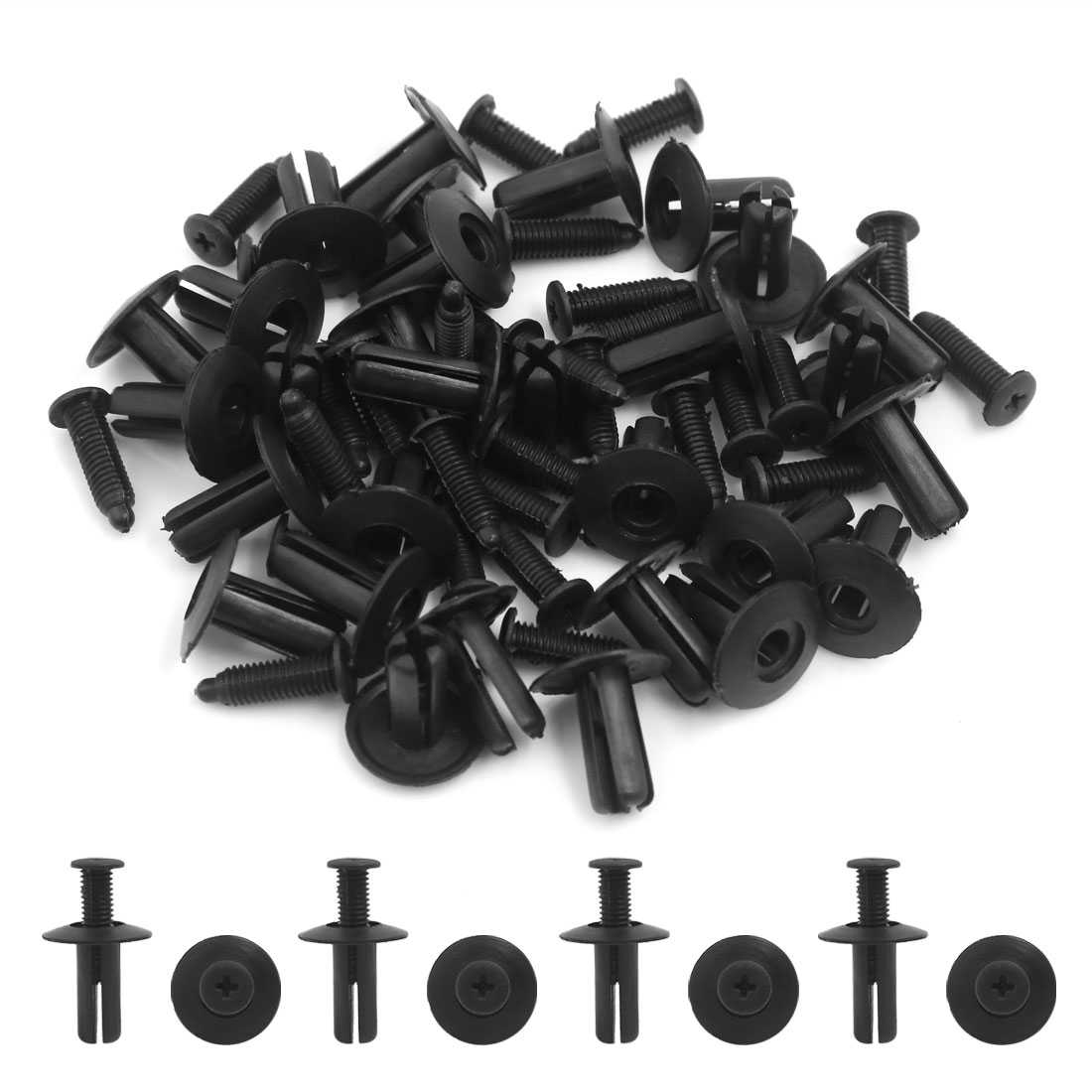 30 Pcs 8mm Hole Plastic Rivets Fastener Fender Bumper Push Pin Clips Black