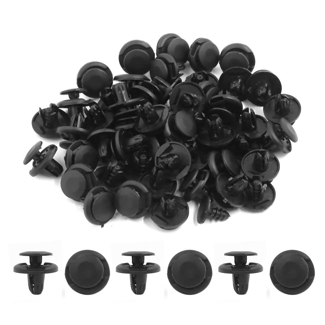 50pcs 8mm Hole 20mm Head Plastic Rivets Fastener Push Clips Black for Car Fender