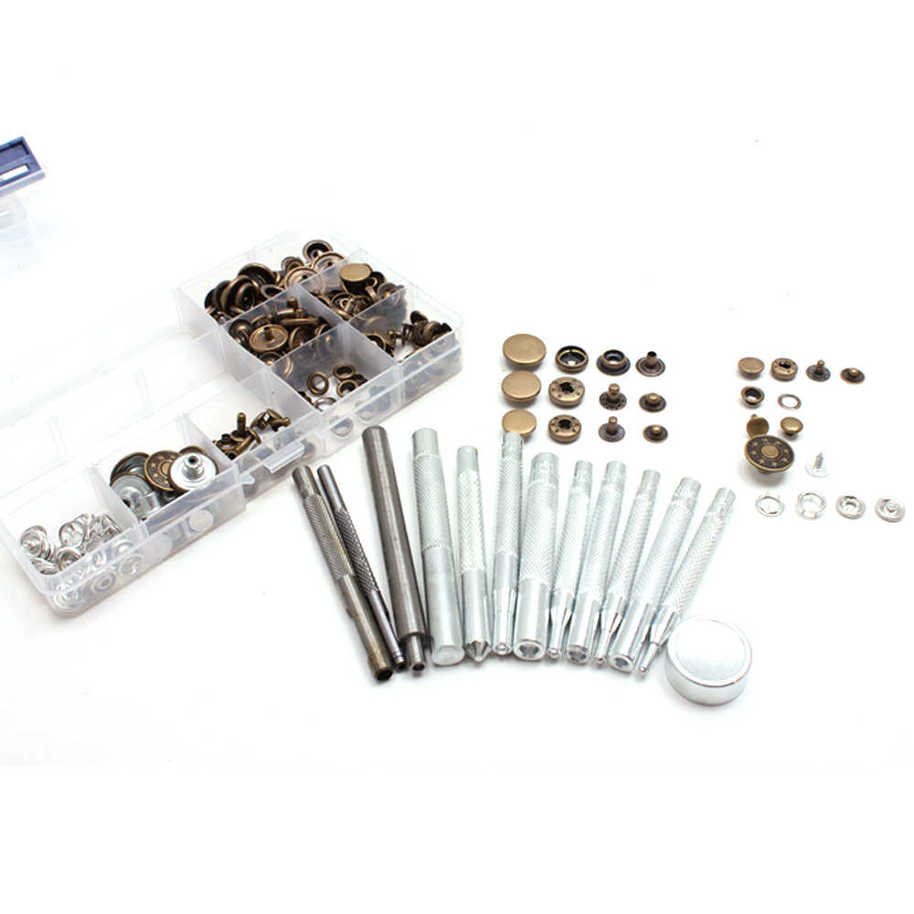 13 PCs Leather Rivets Setter Tools With 8x10 Pieces Decorative Rivets,Die Punch Snap Kit Fasteners Press Studs Brass Button Grommet Plastic Box Package