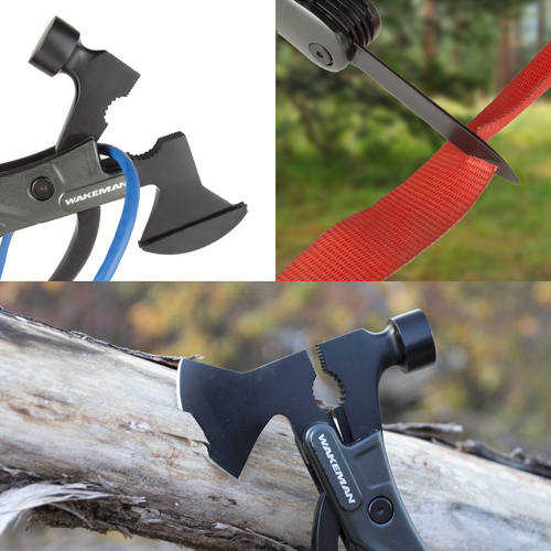 Multipurpose Axe, Hammer, and Knife Tool, 14-in-1 Portable Camping and Emergency Survival Mini Lightweight Folding Hatchet by Wakeman Outdoors