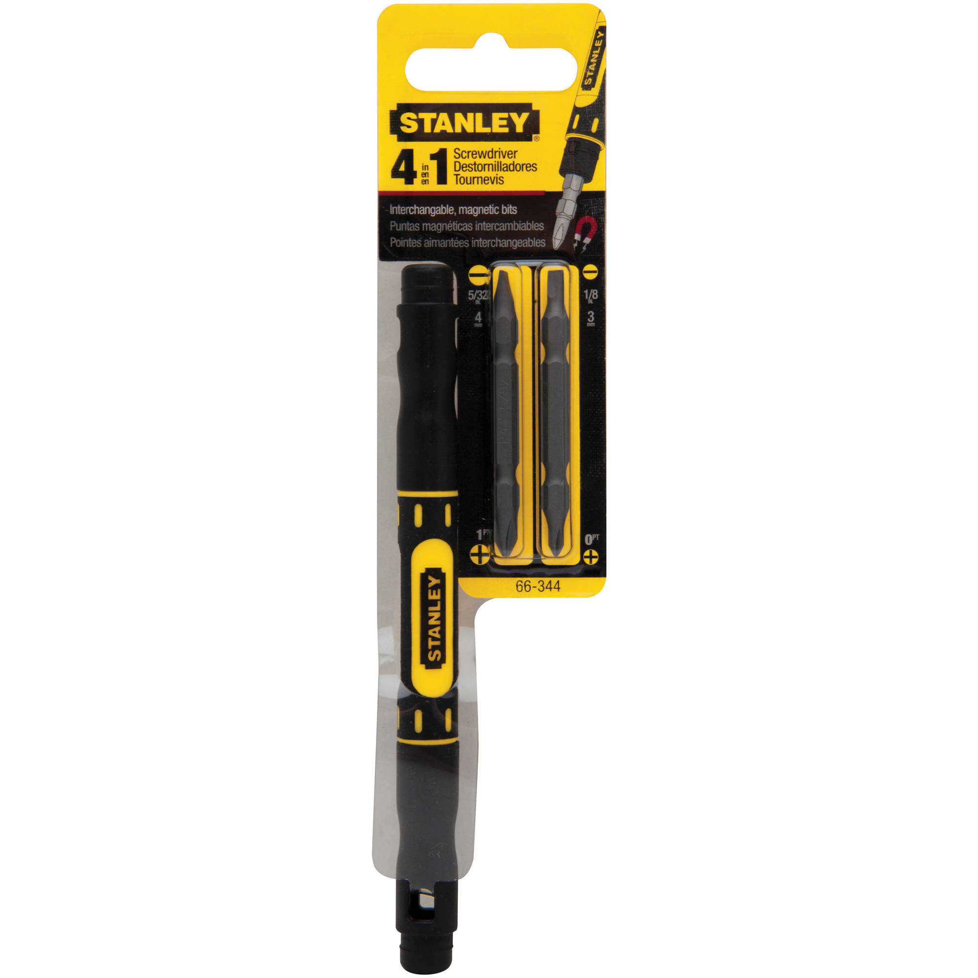 Stanley BOS66344 Four-In-One Pocket Screwdriver, Black