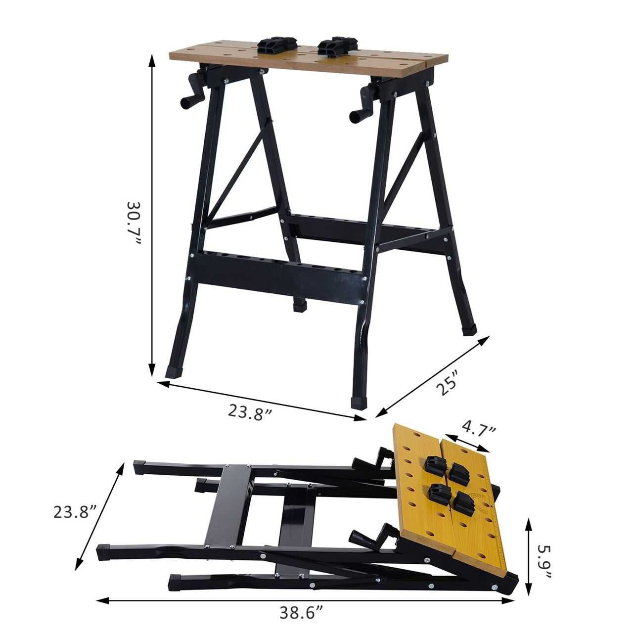 25 Adjustable Folding Portable Work Bench and vise  385lb Capacity