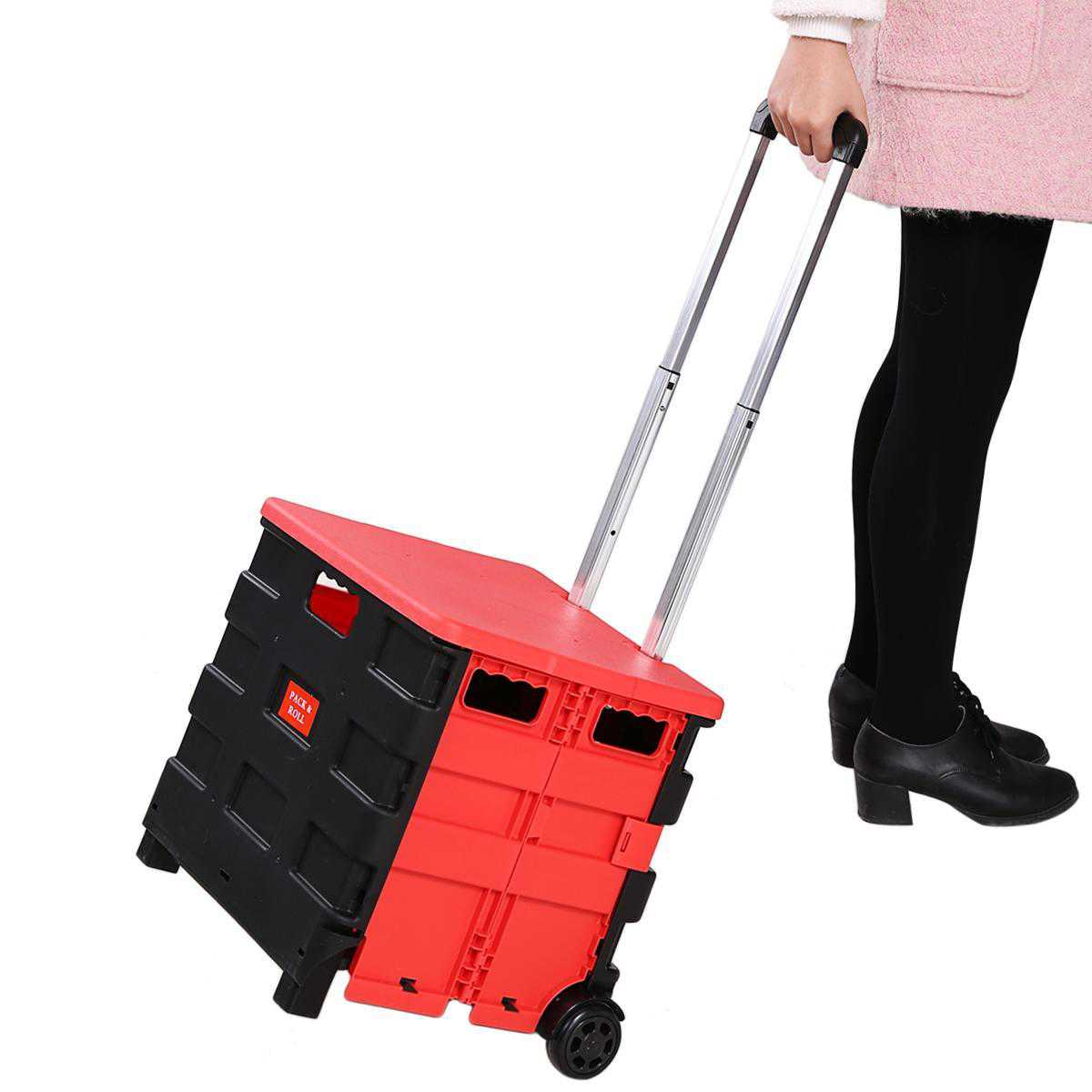 Folding Cart Two-Wheeled Hand Cart Truck Collapsible Cart Shopping Travel Trolley Handcart GlSTE