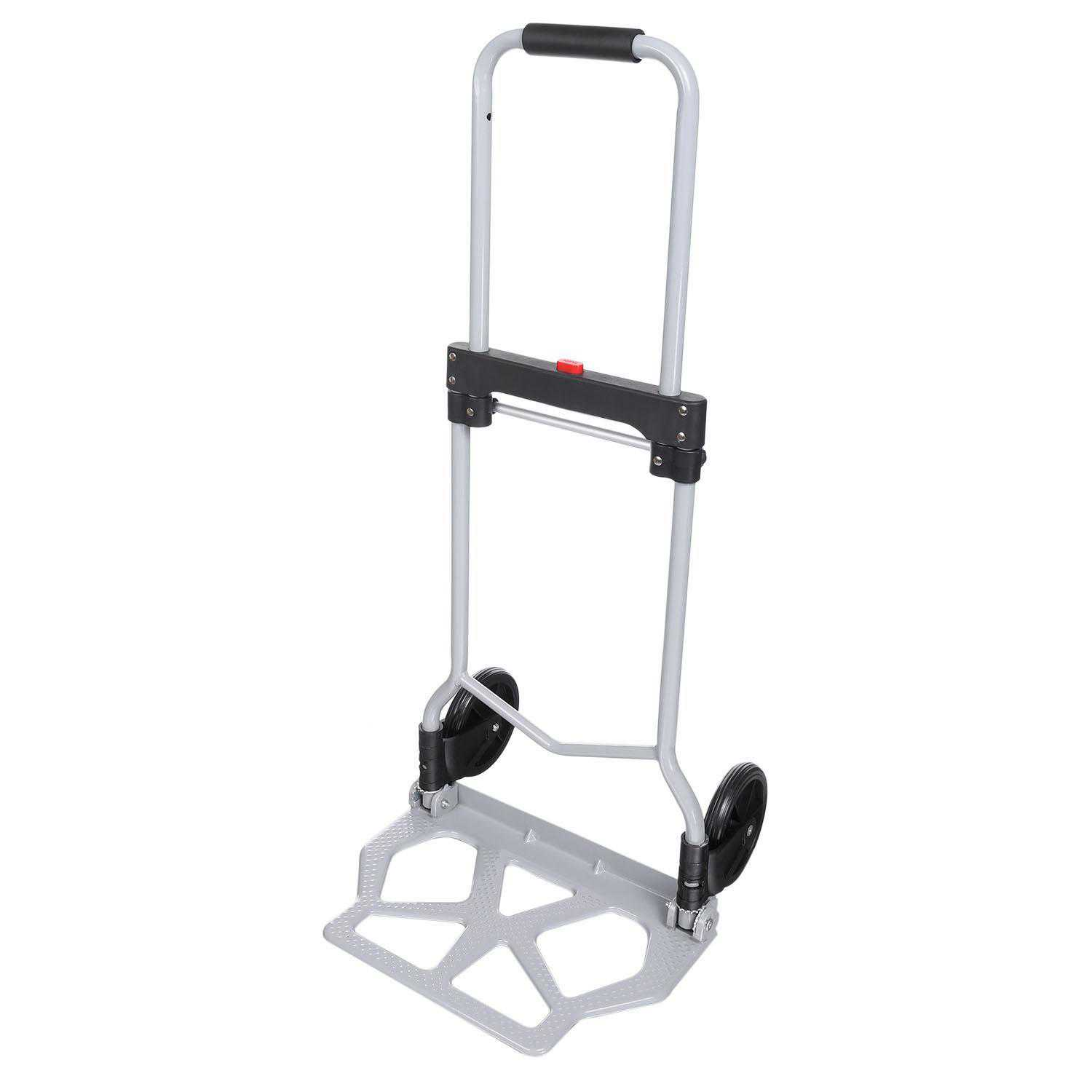 Portable Folding Hand Truck Dolly Luggage Carts, Silver, 220 lbs Capacity, Industrial/Travel/Shopping BYE