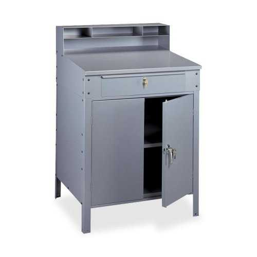 Tennsco Steel Cabinet Shop Desk, Medium Grey