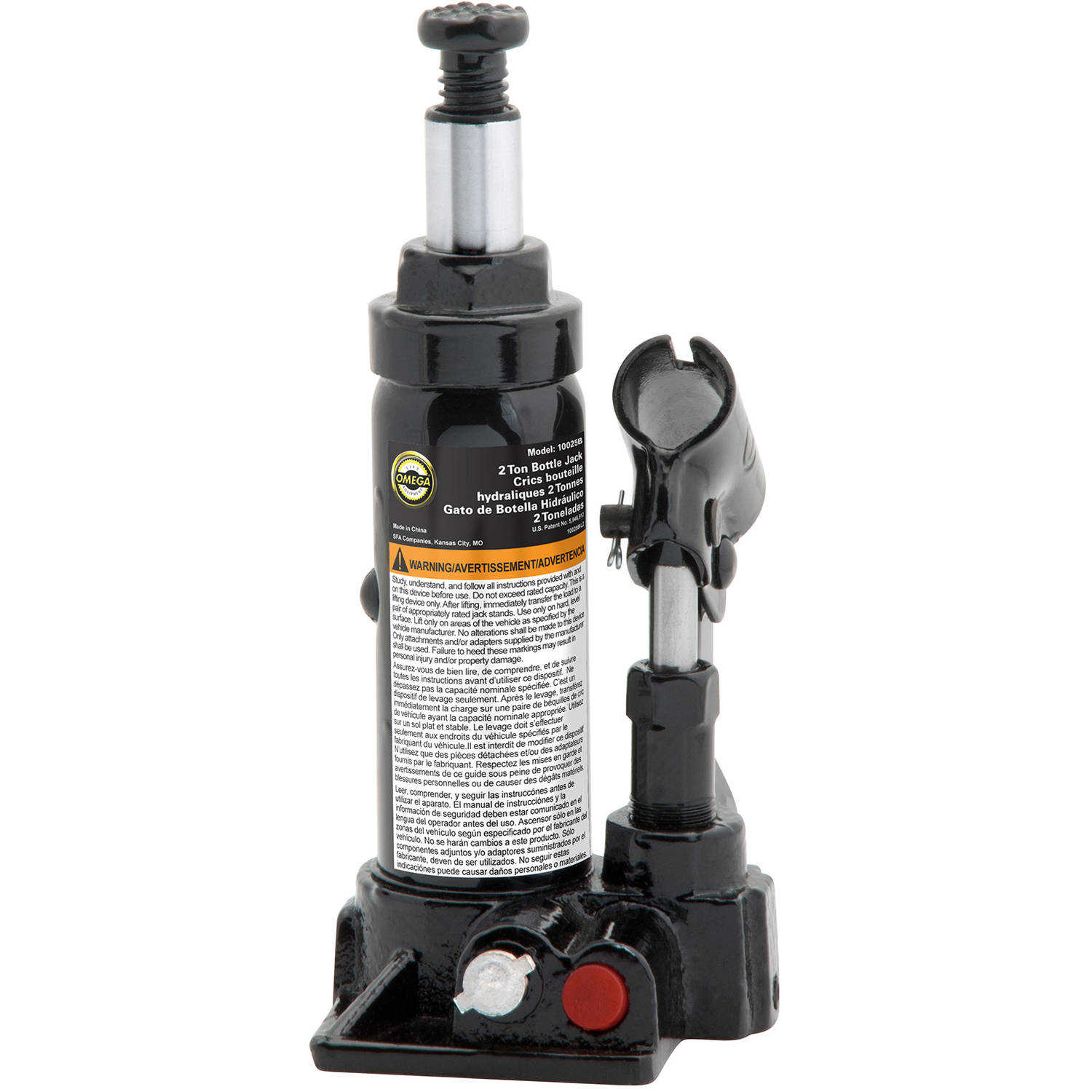 Omega 10025B Black Hydraulic Bottle Jack, 2 Ton Capacity