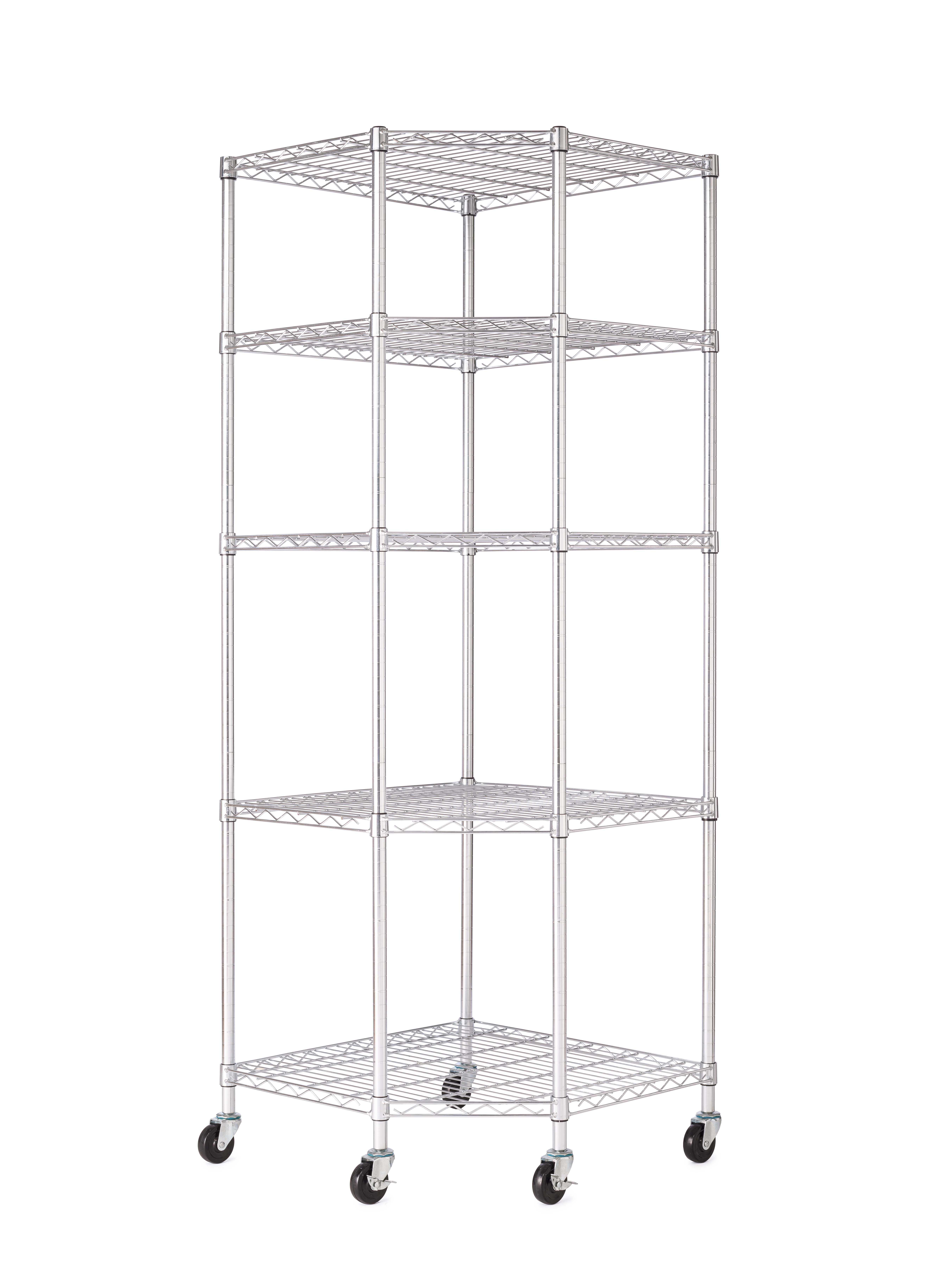 HSS 5-Tier Wire Shelving Corner Rack Corner with 3' Casters, 27'Dx27'Wx75'H, Chrome