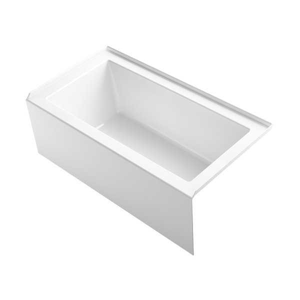 Kohler K-20202-RA Underscore 60' Soaking Bathtub for Three Wall Alcove Installation with Right Drain - White - N/A