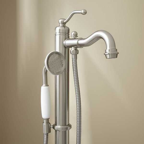 Signature Hardware 926634 Leta Floor Mounted Tub Filler - Includes Personal Hand Shower - N/A