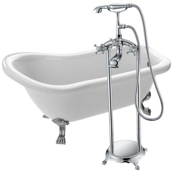 Pegasus 66.93 in. Acrylic Clawfoot Soaking Bathtub in White with Tugela Faucet in Polished Chrome
