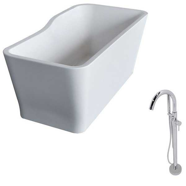 ANZZI Salva 5.7 ft. Acrylic Classic Freestanding Flatbottom Non-Whirlpool Bathtub in White and Kros Faucet in Chrome