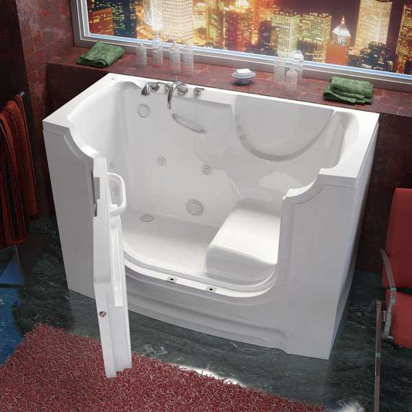 MediTub Wheelchair Accessible 30x60-inch Left Drain White Whirlpool Jetted Walk-In Bathtub