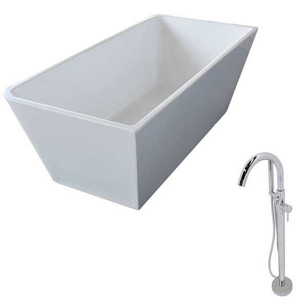 ANZZI Majanel 5.6 ft. Acrylic Classic Freestanding Flatbottom Non-Whirlpool Bathtub in White and Kros Faucet in Chrome