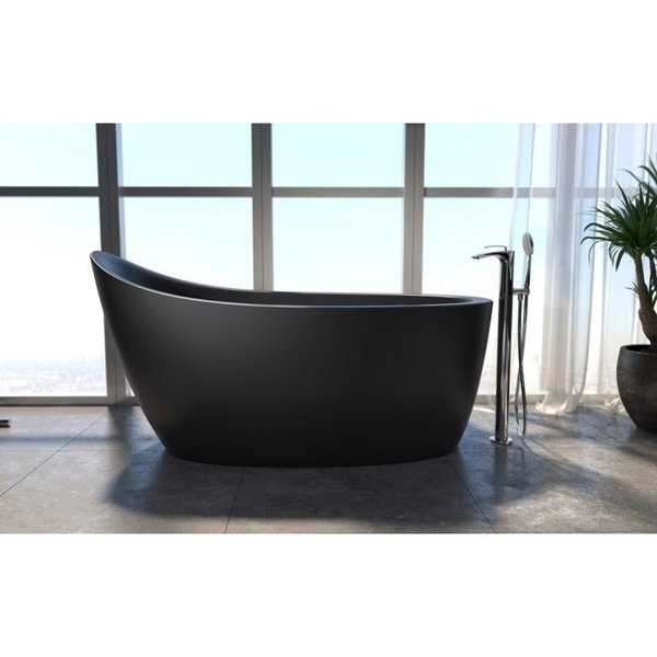 Aquatica Emmanuelle 2 Black Freestanding Solid Surface Bathtub