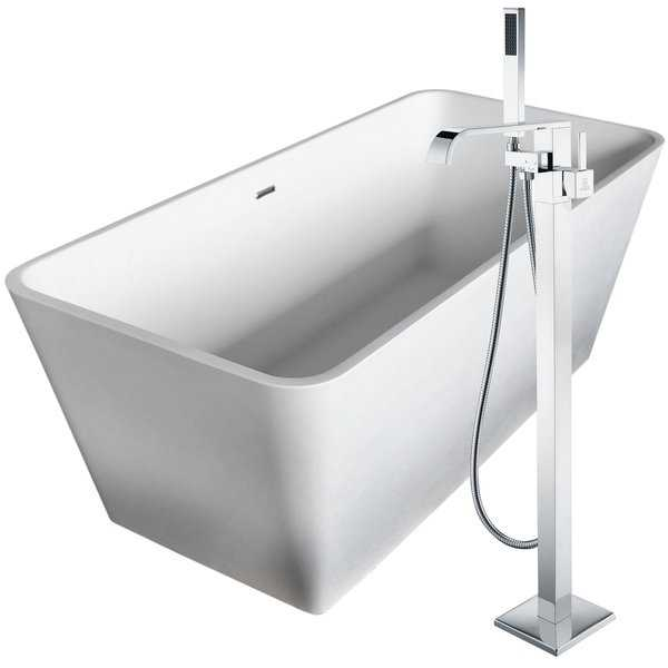 Cenere 58.25 in. Man-Made Stone Soaking Bathtub in White with Angel Faucet in Polished Chrome