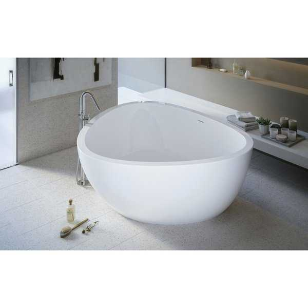 Aquatica Trinity Freestanding Light Weight Stone Bathtub - High Gloss