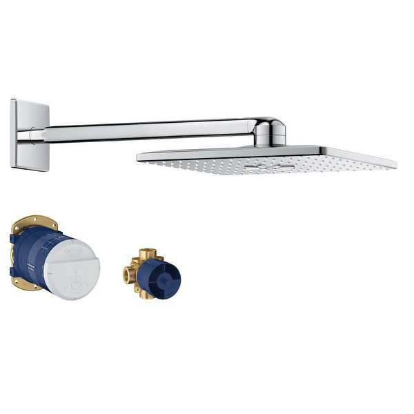 Grohe 26 504 Rainshower 1.75 GPM Multi Function Square Shower Head with Shower Arm, Flange, and Rough-In Set