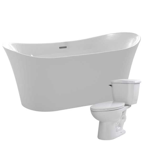 Eft 67 in. Acrylic Soaking Bathtub in White with Kame 2-piece 1.28 GPF Single Flush Toilet
