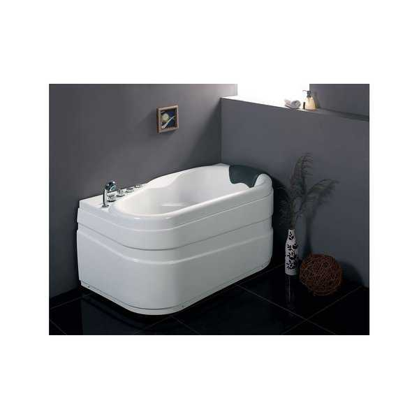 Eago AM175-L 57-1/8' Acrylic Whirlpool Bathtub for Alcove Installations with Left Center Drain, Left Pump, & Included Handshower