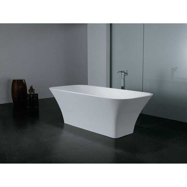 68-Inch Solid Surface White Stone Freestanding Oval Bathtub
