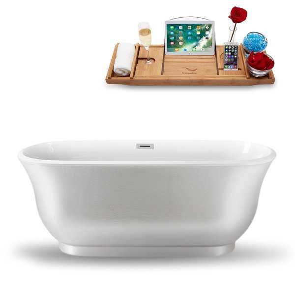 Streamline 59-Inch Freestanding Tub and Tray with Internal Drain