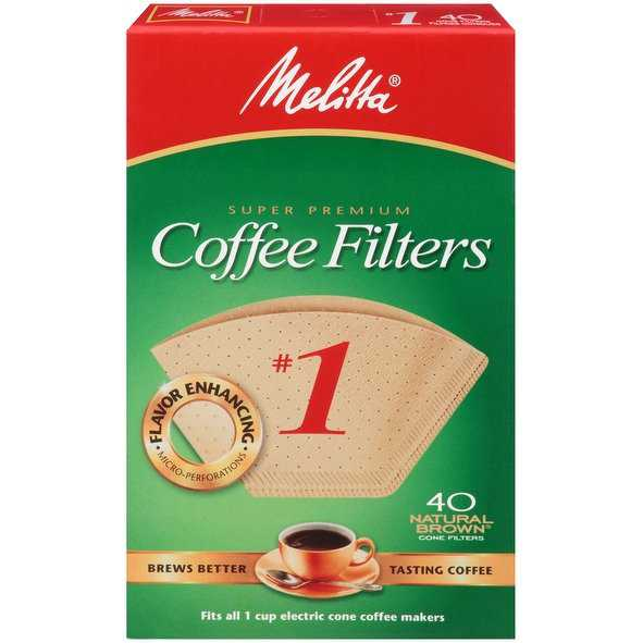 Melitta Super Premium #1 Cone Paper Coffee Filters, Natural Brown, 40 Count, 2 Pack
