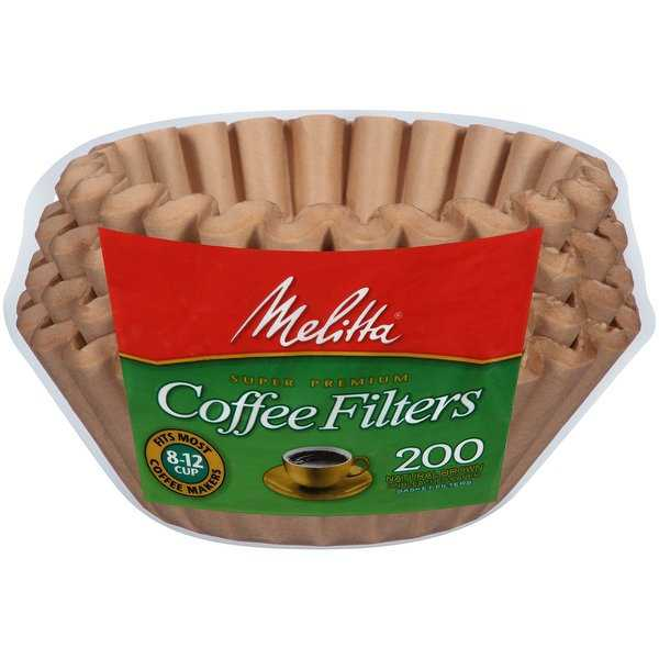 Melitta 8-12 Cup Basket Coffee Filters Paper Natural Brown, 200 Count, 2 Pack